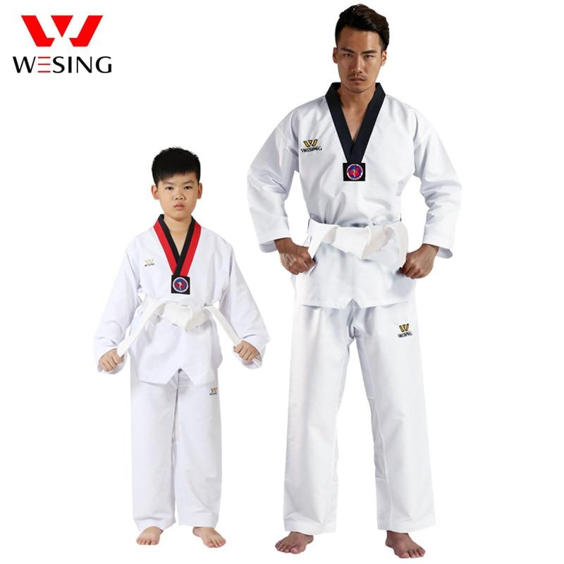 Wesing Taekwondo Uniform for Men Women with Large Size Breathable Taekwondo Suit Taekwondo Gi for Boy Girl Training Competition target kick pad for taekwondo training black red