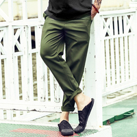 Men spring summer slim new army green black zipper ankle length pants men casual fashion trousers England style pants quick dry