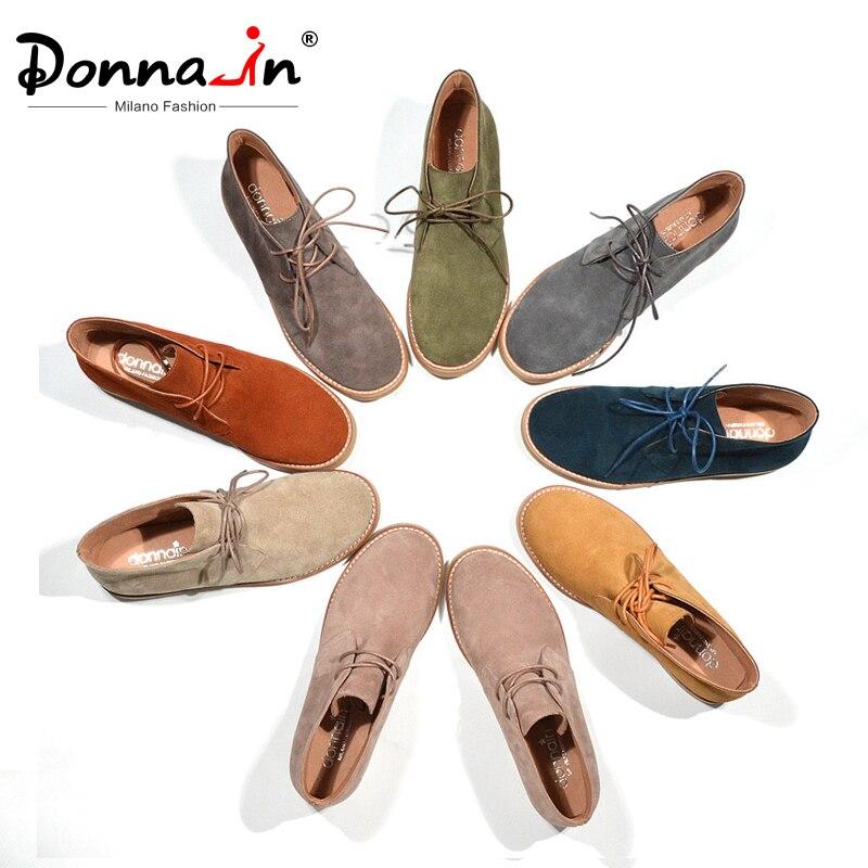 Donna-en bottines pour Femmes bottes de martin Véritable chaussures en cuir Plat décontracté Chaussons Femme 2019 Printemps à lacets grande taille Dames