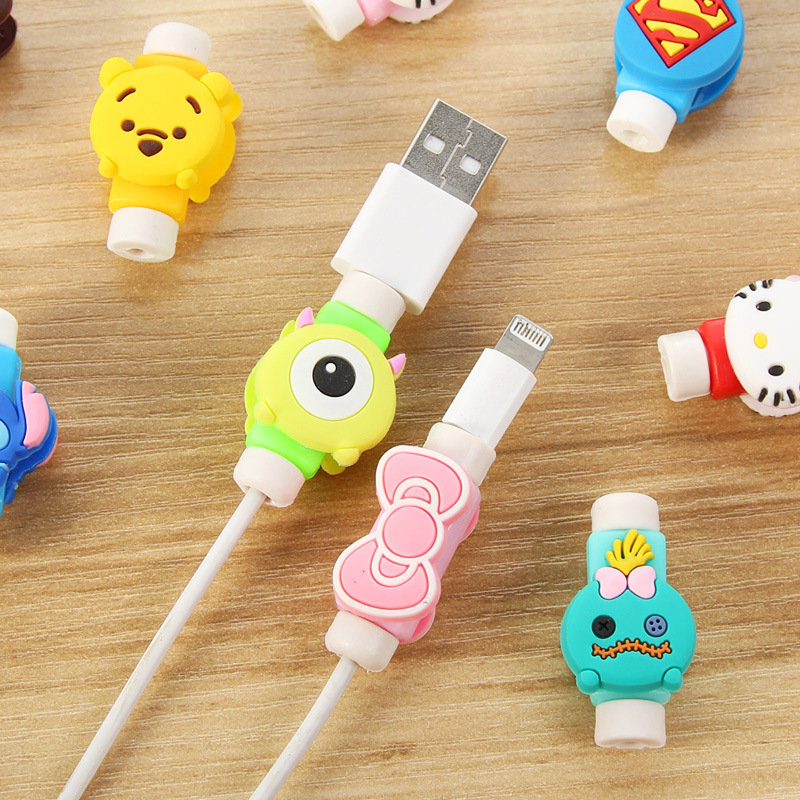 Creative Cartoon Kawaii Animal Hello Kitty Batman Usb Cable Earphone Line Saver For Mobile Phone Charging on Iphone 5 Usb Charger Cable