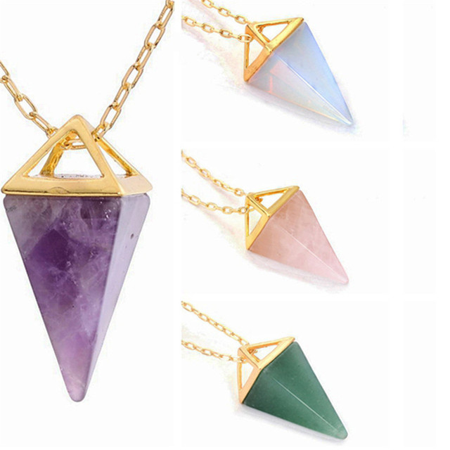 Triangle pyramid natural clear pink purpple crystal healing amulet triangle pyramid natural clear pink purpple crystal healing amulet pendant necklaces gold color chain jewelry women aloadofball Gallery