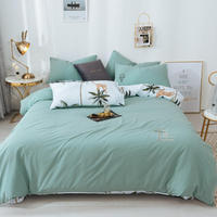 A side embroidery Bedding Set B side printing Bed set Skirt style Bed Sheet Queen Size Duvet Cover Set coconut palm Bed Linen