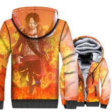 Fashion Men Jackets 2018 Winter Thick Mens Hoodies Hip Hop Unisex Zipper Harajuku 3D Anime One Piece Sweatshirts Coats