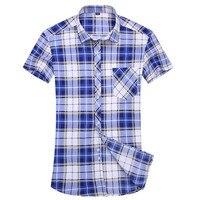 Camisa Xadrez Casuais dos homens do Estilo Da Moda verão de Manga Curta Trabalho camisa mens clothing tendência slim fit camisas xadrez dos homens de escritório 5XL