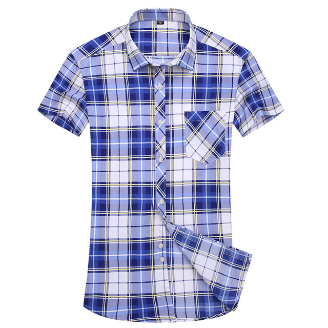 8b3fc7757cfc Summer Fashion Style Men s Plaid Shirt Casual Short Sleeve Work Shirt Mens  Clothing Trend Slim Fit Mens Office Plaid Shirts 5XL