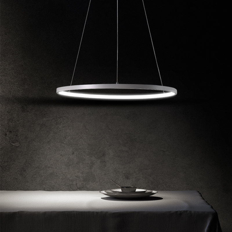 LED pendant lights circular ring bar fixtures living room suspended lamps simple modern style restaurant hanging