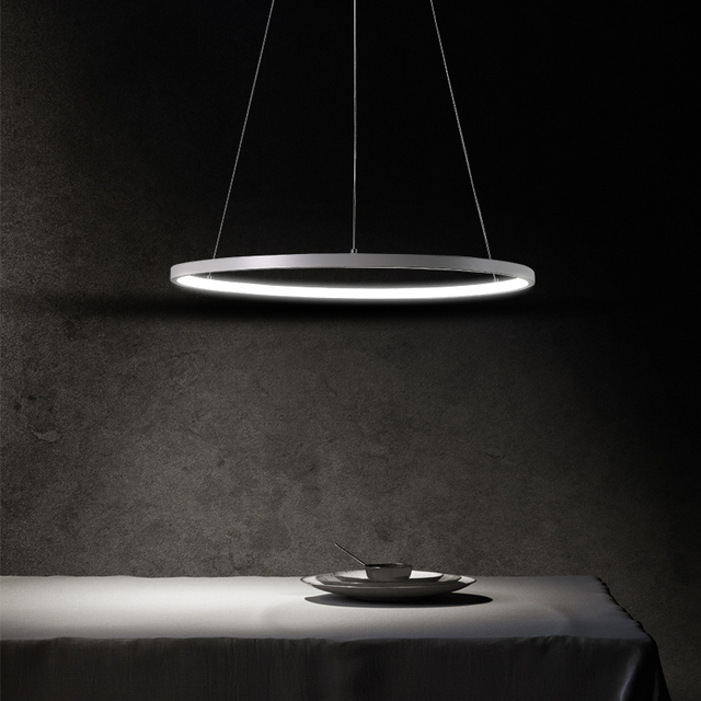 LED pendant lights circular ring bar fixtures living room suspended lamps simple modern style restaurant hanging lighting