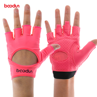 Boodun Sports Female Gym Weight Lifting Gloves Women Body Building Leather Fitness Yoga Gloves Mitten Girls PU&Lycra Breathable
