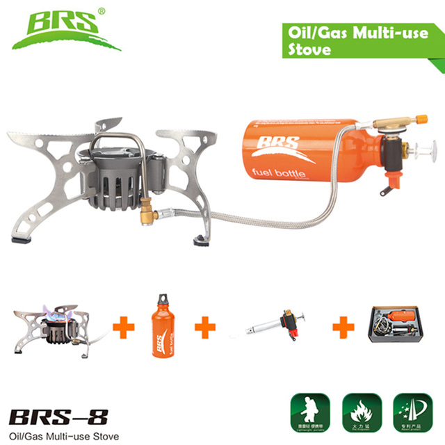 BRS-8 Portable Oil Gas Multiple Fuel Application Stove Outdoor Backpacking Hiking Camping Cookware Cooking Cooker Picnic Burner