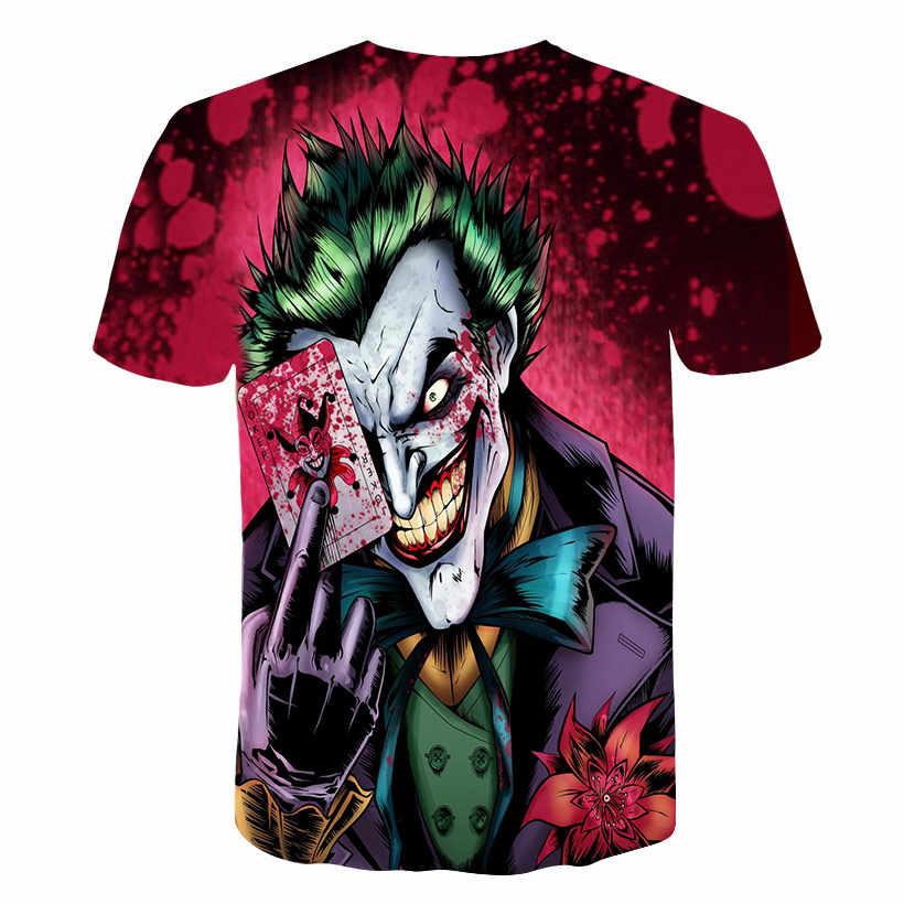 Новинка 2017 года, футболка с 3d джокером Забавный персонаж комиксов, Джокер с покерным 3d принтом, летняя стильная одежда, футболки, топ с полной печатью
