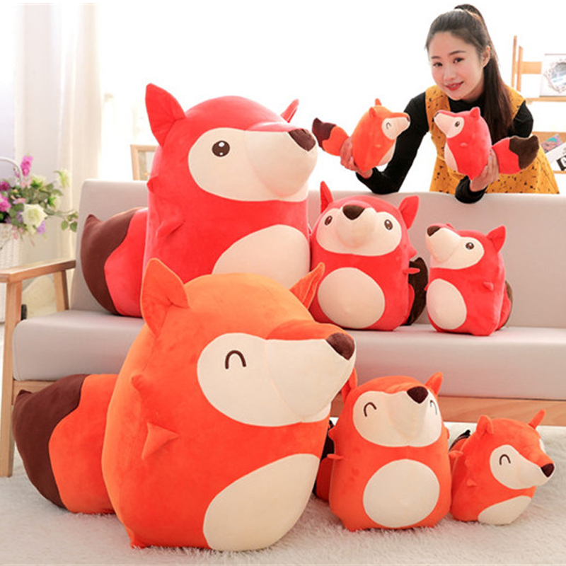 Fancytrader New Lovely 65cm Big Soft Cartoon Fox Plush Toy 26'' Giant Cute Animal Fox Stuffed Pillow Doll Kids Gift One Piece fancytrader 2015 new 31 80cm giant stuffed plush lavender purple hippo toy nice gift for kids free shipping ft50367