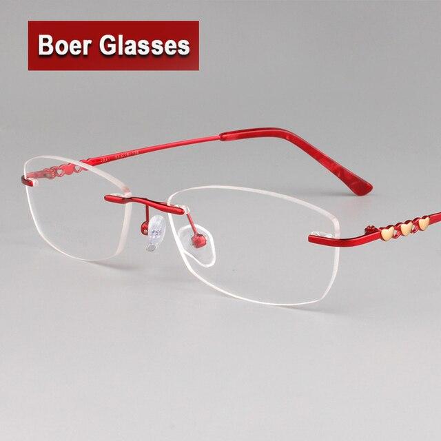 c59ae907c Mulheres Sem Aro Óculos de titânio puro Armações peso leve Óculos de Miopia  Armação de Óculos