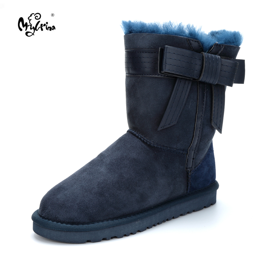 Top 2017 New Arrival Winter Shoes Natural Fur Genuine Sheepskin Leather Snow Boots Botas Mujer Waterpoor Wool Women Boots