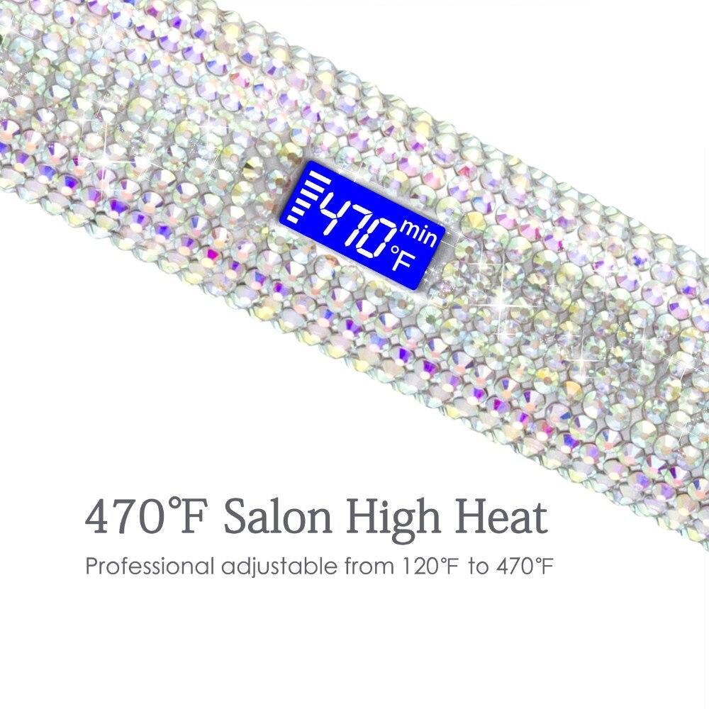 MADAMI Hair Straightener Flat Iron Hand Made Crystal Diamond With LCD Digital Display MCH Sparkling Rhinestones Titanium Plate White (8)