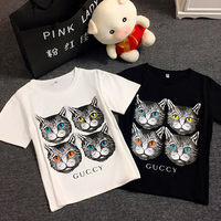 Summer Korea Harajuku Women T Shirt Cat Print Black Top Female Tshirt Short Sleeve Logo Tee