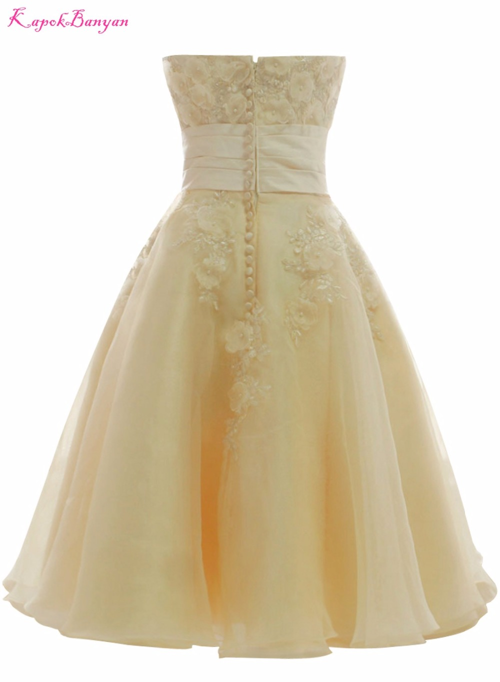 Bridalaffair Real Photo Light Yellow Lace Ball Gown Short Wedding Dresses 2017 Mid Calf Strapless Bridal Vestido De Noiva In From
