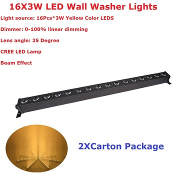 Free Shipping 2Pcs/Lot 16X3W Yellow Color Indoor LED Bar DMX Wall Washer Lights CREE Lamp 25 Degree Lens Angle