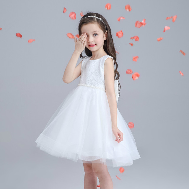 New kids baby g wedding dress white flower girl vestidos bautismo traje blanco vestido formal de 2017 de los bebés ropa akf164039