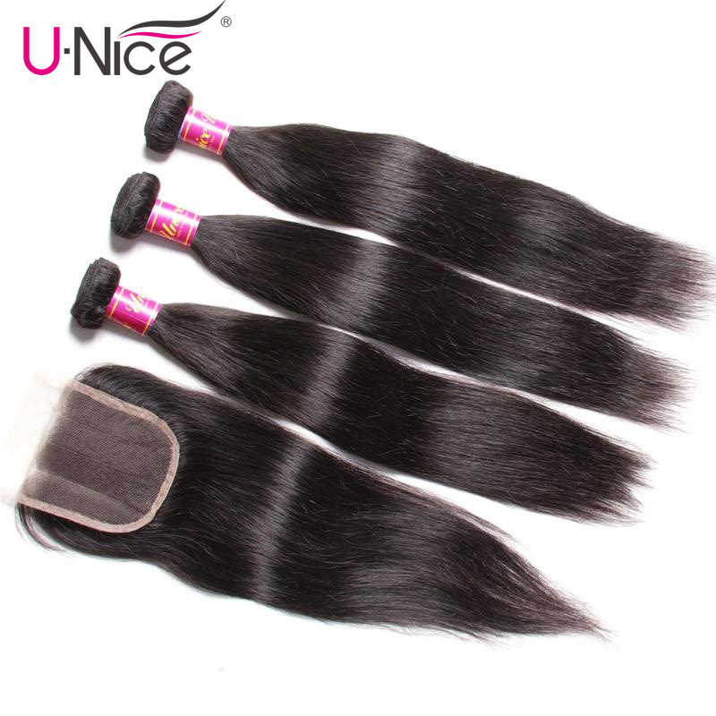 "UNice Hair Icenu Series Malaysian Straight Hair Bundles with Closure 8-30"" Remy Human Hair Extension Bundles With Closure 4PCS"