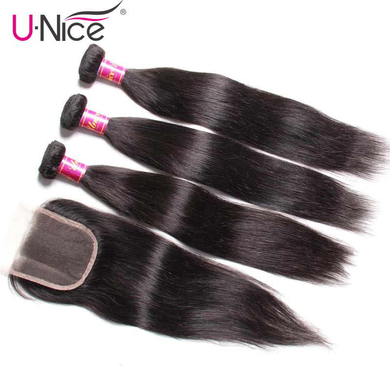 """UNice Hair Icenu Series Malaysian Straight Hair Bundles with Closure 8 30"""" Remy Human Hair Extension Bundles With Closure 4PCS-in 3/4 Bundles with Closure from Hair Extensions & Wigs"""