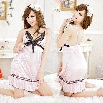 fce532e8 Verano Sexy mujer Intimates brillante satén tela Riboon encaje Chemise ropa  interior camisón ropa de dormir vestido H153