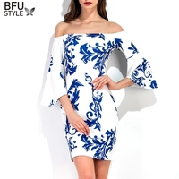 2017 New Style Blue And White Porcelain Print Slim Dress Chinese Style Ladies Off Shoulder Midi
