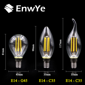 Image 5 - EnwYe الرجعية اديسون ضوء لمبة 4 واط E27 E14 220 فولت A60 G45 C35 الرجعية التنغستن لمبة بفتيلة المتوهجة اديسون مصباح