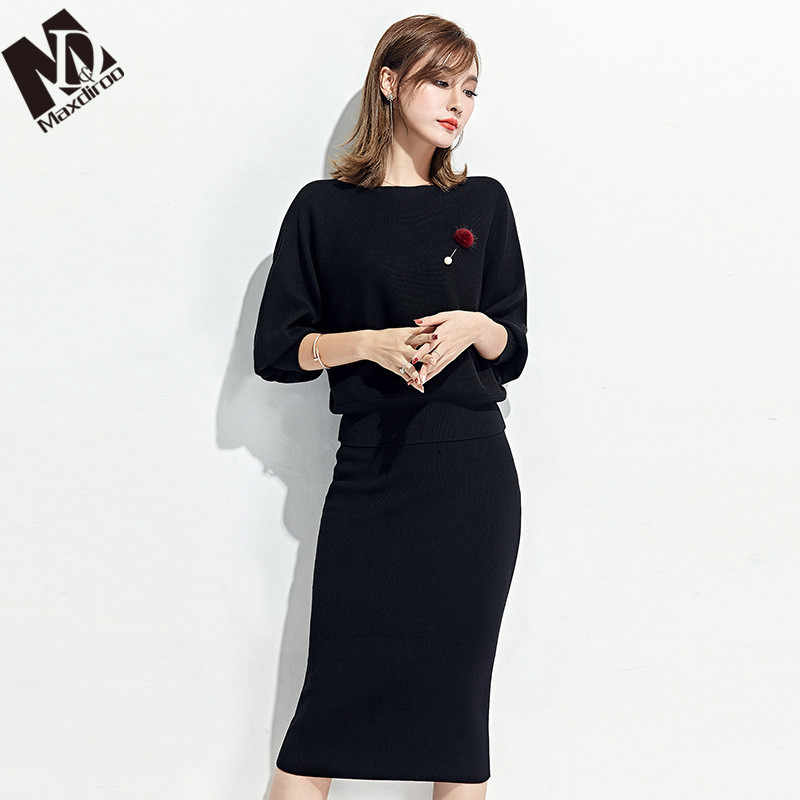 Maxdiroo Two Piece Sets Women Costume Woman Pullover Sweater Suit Clothes for Women Pencil Skirt Set Women's Tracksuits