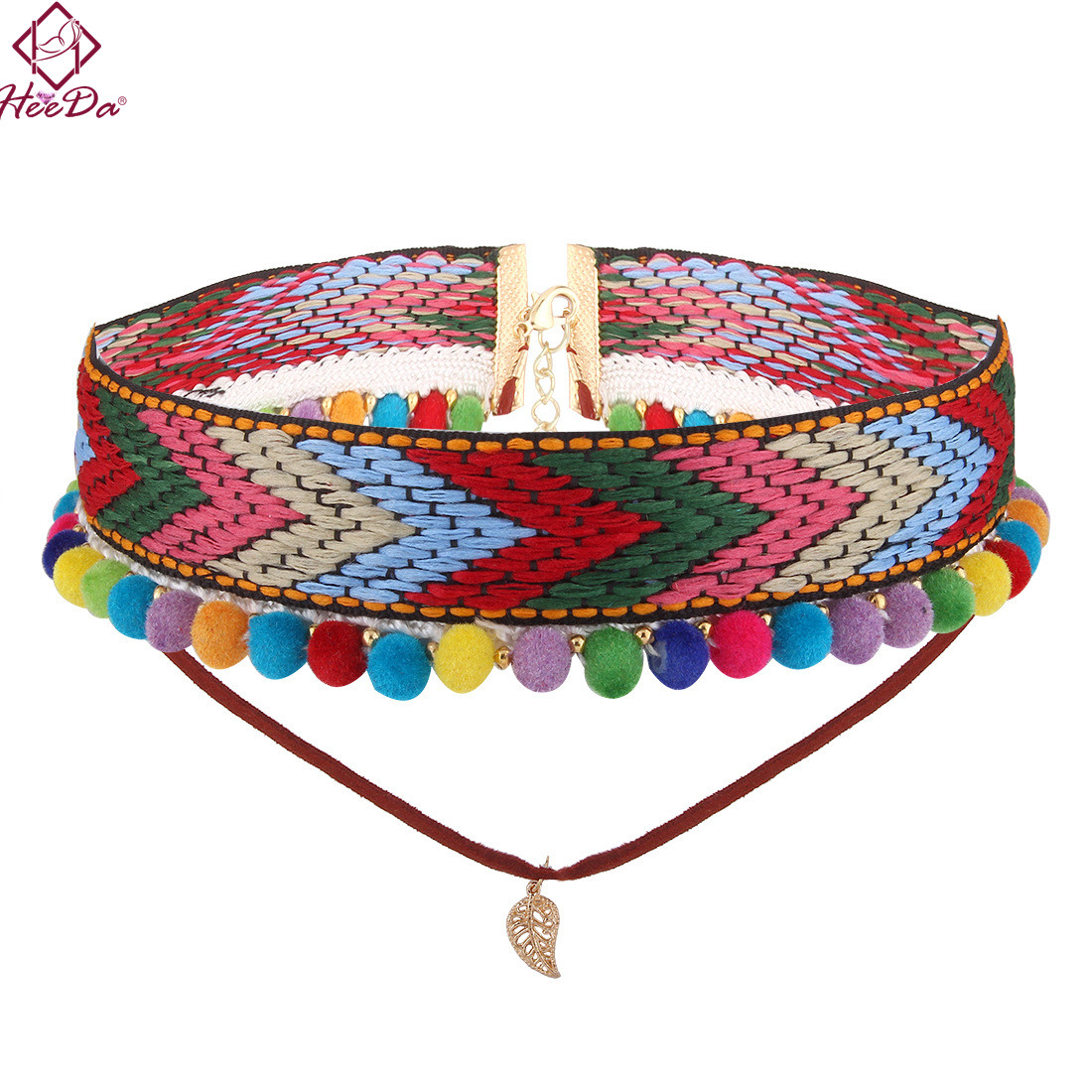 Heeda 2018 New Fashion Boho Personality Colorful Pompon Pendant Necklace Retro Style Ethnic Elegant Handcraft Woven Cloth Choker