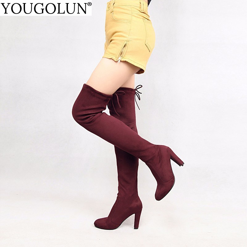 YOUGOLUN Women Thigh High Boots 2018 Autumn Fashion Lady Round toe Cross Strap Shoes Woman Over The Keen High Square Heels #B015