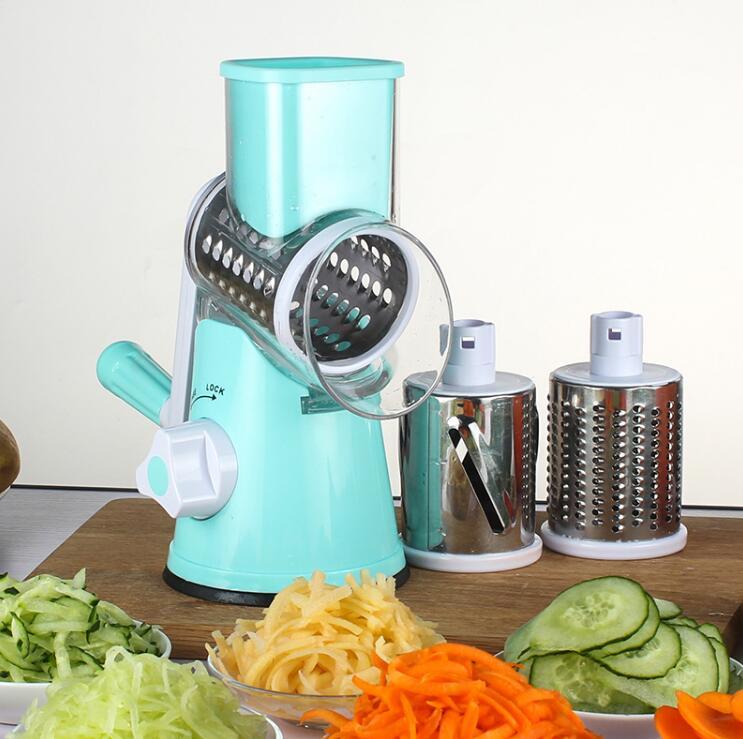 Round Mandoline Slicer Vegetable Cutter Manual Potato Julienne Carrot Slicer Cheese Grater Stainless Steel Blades Kitchen