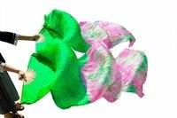 100% Silk Women Bamboo Ribs Long Fans Dance Silk Fans Handmade Tie Dyed Belly Dance Accessories Fans Green+Mixed Colors 180x90cm
