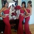 Vestidos para el espectáculo criada de las novias gasa larga rojo atractivo de la sirena dama de honor vestidos para bodas bruidsmeisjes jurk brautjungfernkleid