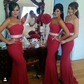 Vestidos para noivas empregada longo Chiffon Red Sexy sereia da dama de honra vestidos para casamentos bruidsmeisjes jurk brautjungfernkleid