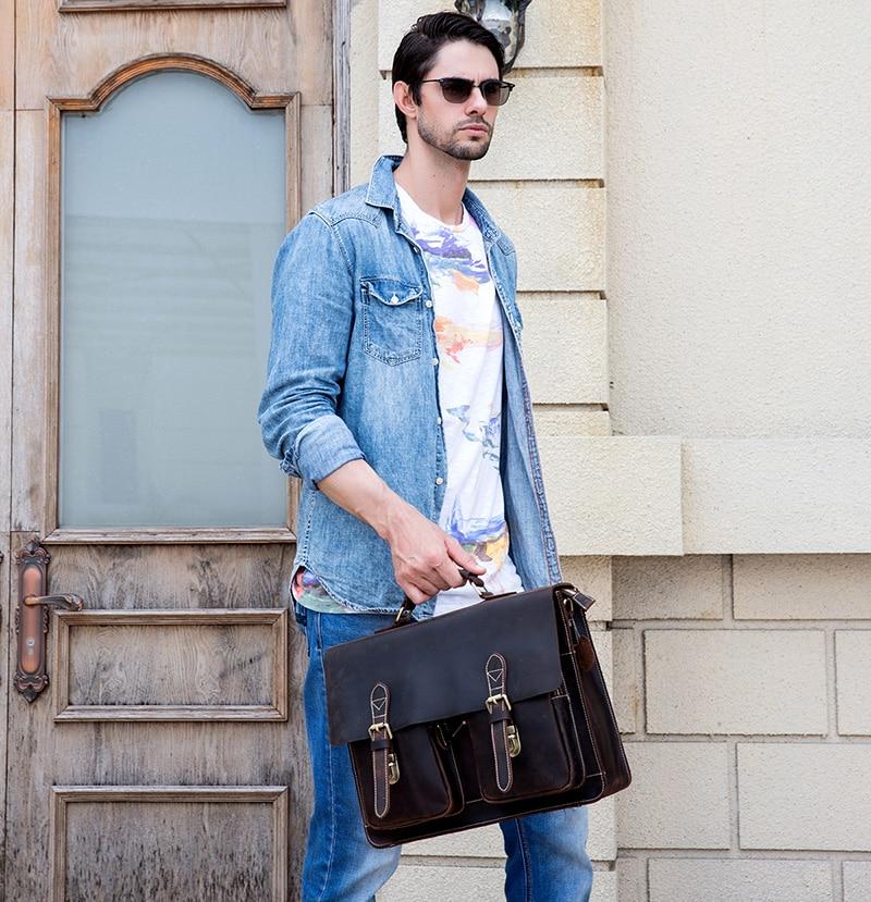 HTB1LTvRX3aH3KVjSZFjq6AFWpXaY MAHEU Luxury Fashion 100% Genuine Leather Men Briefcase Cow Leather Laptop Bag Vintage Shoulder Bag Real Cowhide Computer Bag