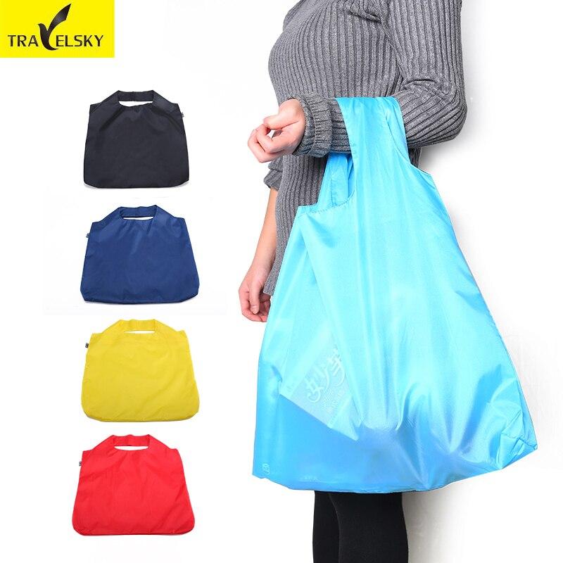 2pcs Travelsky Reusable Portable Folding Shopping Bag Large Ripstop Nylon Reinforced Handbags Waterproof foldable Travel Bag