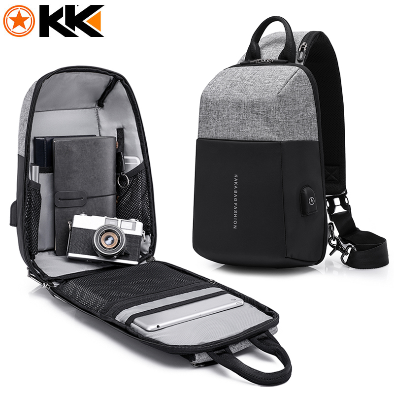KAKA 2018 New Fashion Sling Bag Men Crossbody Shoulder Bags High Quality Waterproof Summer Short Trip Male Chest Messenger Bag