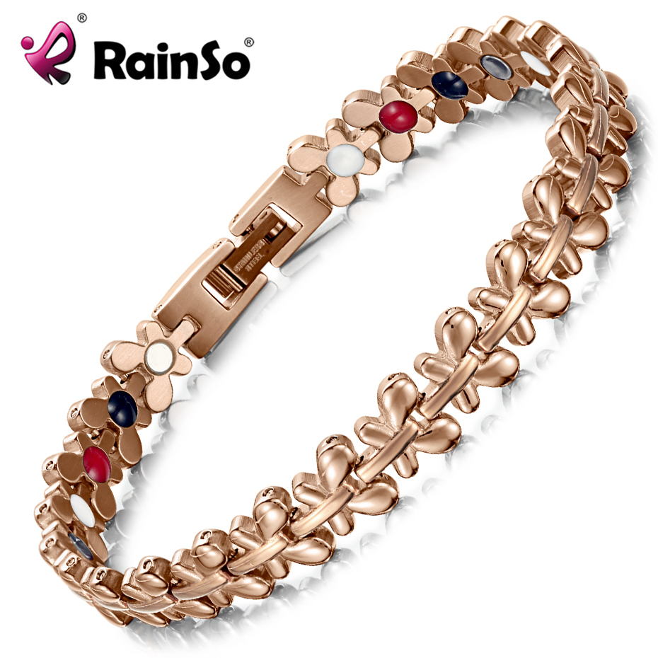 RainSo Healthy Magnetic Bracelet Women Jewelry High Power Therapy Germanium Bracelets & Bangles Drop-Shipping Hologram Wristband drop shipping high quality natural green dongling jades bangles bracelets round bangles gift for fashion elegant women jewelry