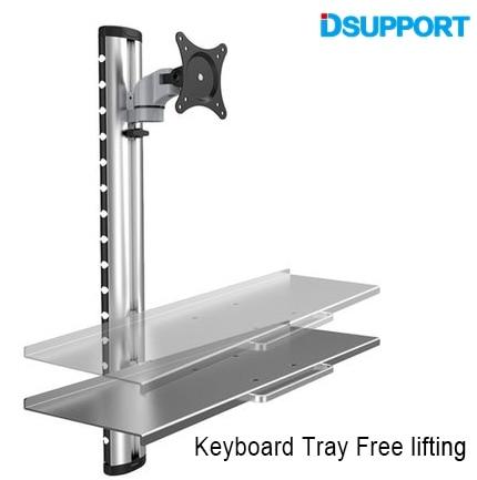 WS06 Wall Mount Foldable Ergonomic Aluminum Sit-Stand Monitor+Keyboard Holder Full Motion Arm 15-27Monitor Stand Bracket