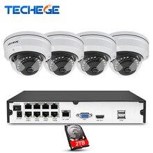 Techege 8CH NVR 48 в POE 1080 P CCTV системы 2MP HD сети погодоустойчивая камера антивандальная обнаружения движения безопасности камера