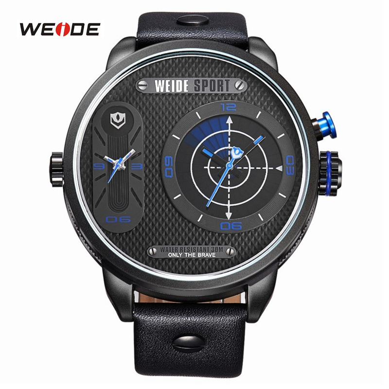 ФОТО WEIDE Oversize Sports Style Men's Watches Fashion Genuine Leather Watch Two Time Zones Display Quartz Watch Casual Wristwatches
