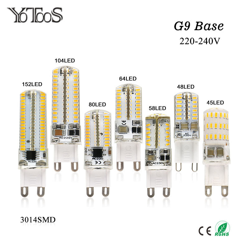 YOTOOS G9 Led Lamp AC 220/240v g9 LED warm /cool white Spotlight Replace G9 halogen lamp LED Bulb lamp Candle Chandelier Light