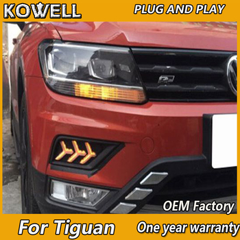 KOWELL Car Styling  With Yellow Turning Function 12V Car DRL LED Daytime Running Light Daylight Lamp For VW Tiguan 2017 2018