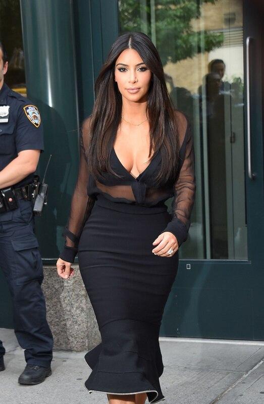 Popular Kim Kardashian Black Long Lace Dress-Buy Cheap Kim ...