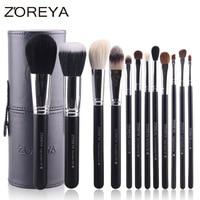 12pcs Natural Goat Hair Makeup Brushes Kit Holder Convenient Leather Cup Makeup Blusher Foundation Powder Eyeshadow