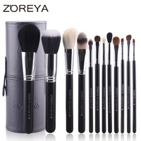 12pcs Natural Goat hair Makeup Brushes kit Holder Convenient Leather Cup Makeup Blusher Foundation Powder Eyeshadow Brush Set