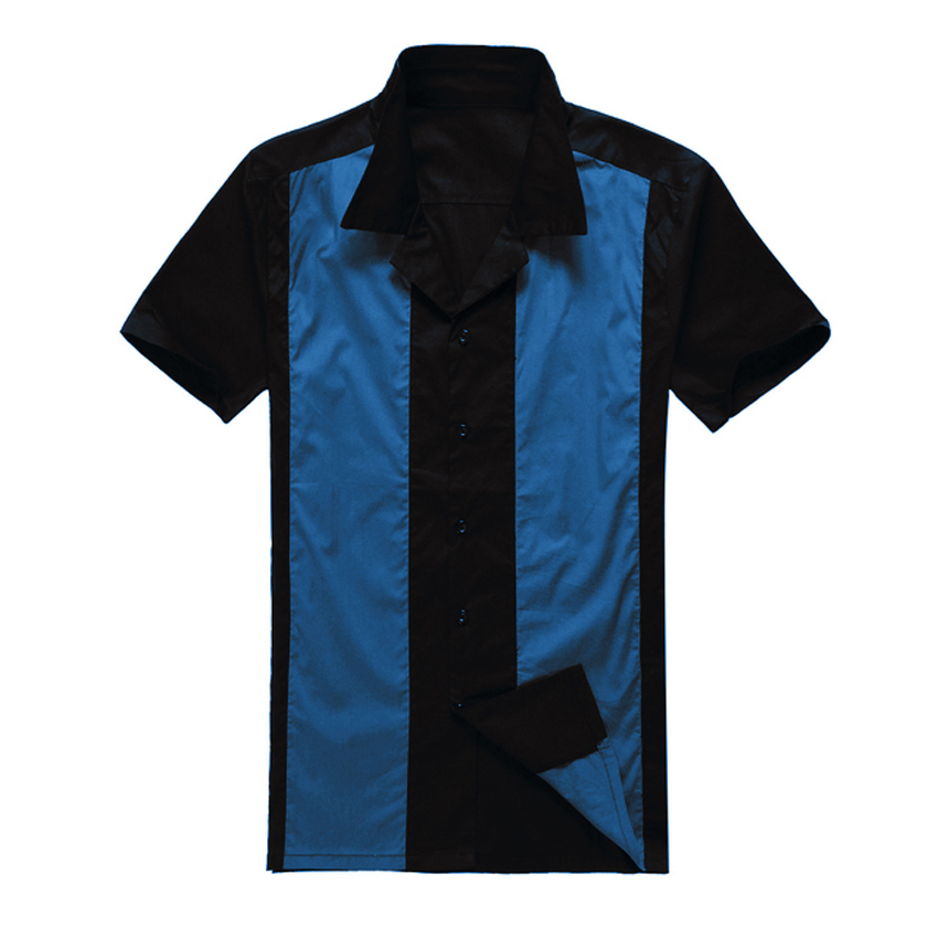 2018 New Uk Design Mens Casual Shirts Black Blue Rockabilly Fifties Clothing for Party Club