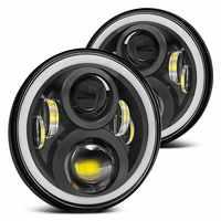 For Hummer H1 H2 Led Headlight 60w 7 Inch LED Headlights High Low Beam Angel Eye DRL Amber Turn Signal for Jeep Wrangler JK Lamp