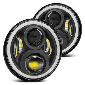 Image 1 - For Hummer H1 H2 Led Headlight 60w 7 Inch LED Headlights High Low Beam Angel Eye DRL Amber Turn Signal for Jeep Wrangler JK Lamp