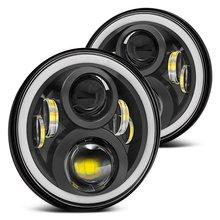 สำหรับHummer H1 H2 Ledไฟหน้า60W 7นิ้วไฟหน้าแบบLED High Beam Angel Eye DRL Amber TurnสัญญาณสำหรับJeep Wrangler JK Lamp